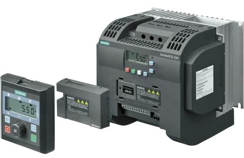 Рис. 2. Преобразователь частоты SINAMICS V20, BOP-интерфейс и выносная базовая панель оператора BOP-V20